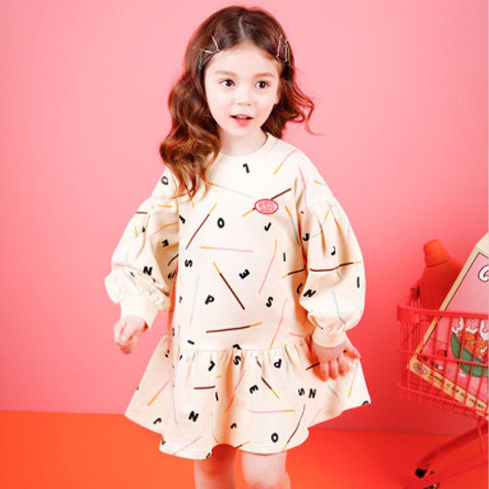 韓國 Jelispoon - 字母泡泡袖洋裝