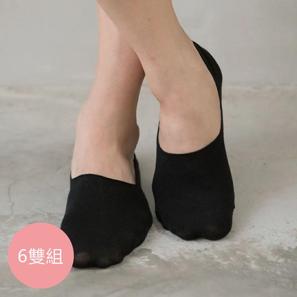 貝柔 Peilou - 貝柔0束痕柔棉止滑襪套-帆船鞋款(男女素色6雙組)-男款-黑色 (24-28cm)