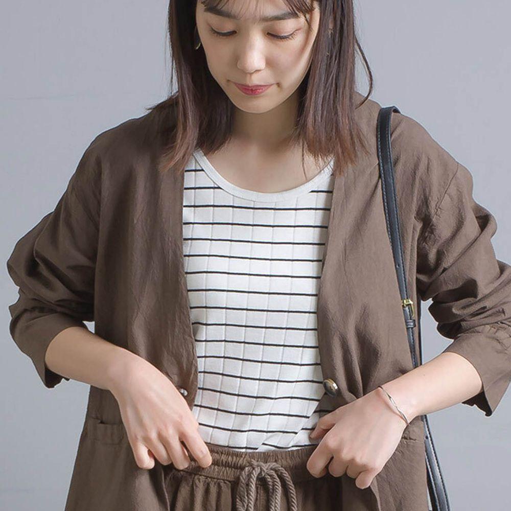 日本女裝代購 - 防透汗加工 粗羅紋背心-黑白條紋