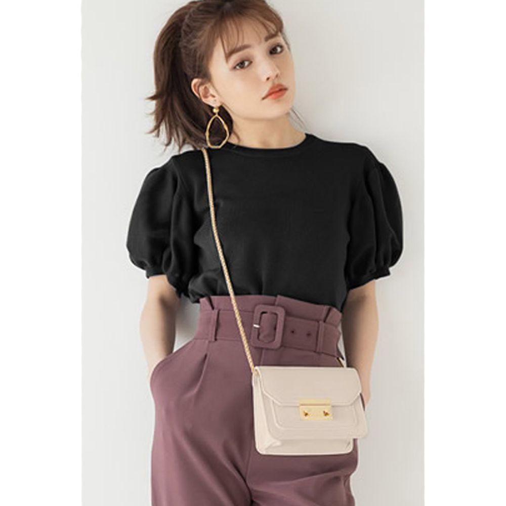 日本 GRL - 顯瘦澎澎袖針織圓領上衣-時尚黑 (M)