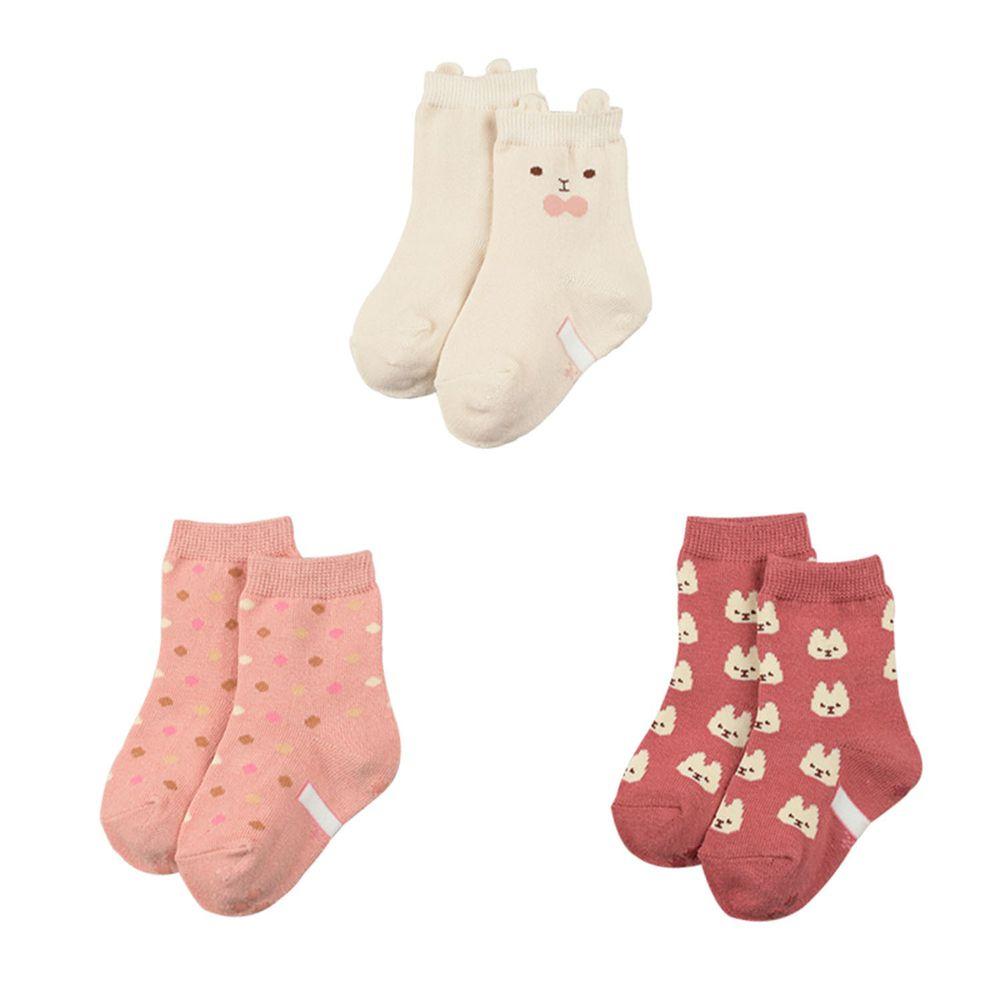 akachan honpo - 女中筒襪3雙組-兔耳-淺卡其色 (9~14cm)