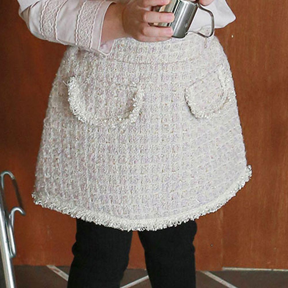 韓國 Puellaflo - 格子花呢布短裙-淺粉紅