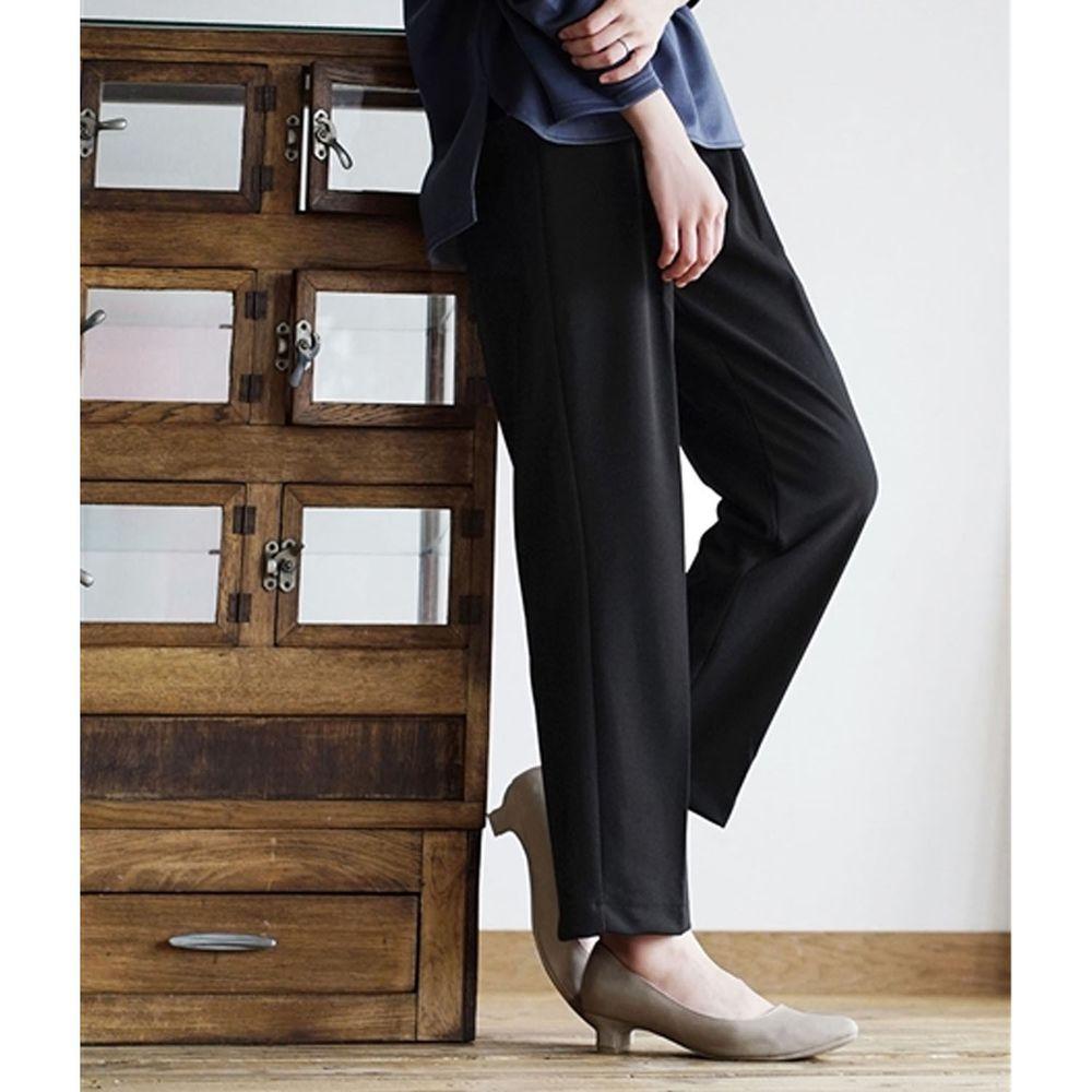 日本 zootie - 美腿彈性復古雪紡哈倫西裝長褲-黑