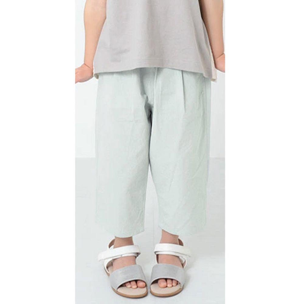 日本 devirock - 純棉舒適直筒七分寬褲-寶貝藍