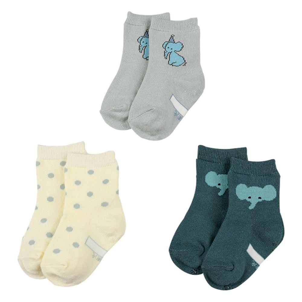 akachan honpo - 男中筒襪3雙組-大象-藍色 (9~14cm)