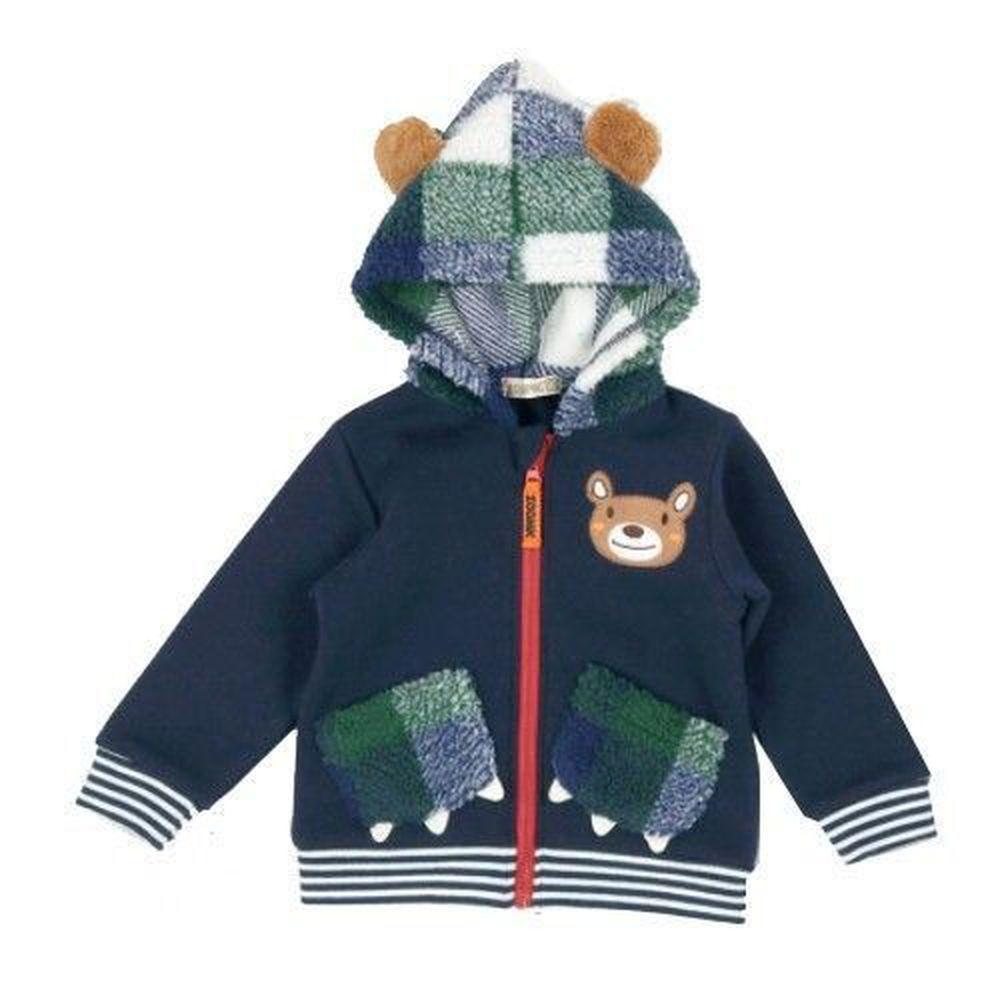 日本ZOOMIC - 熊耳朵立體刷毛連帽外套-綠格帽-藍色 (90)