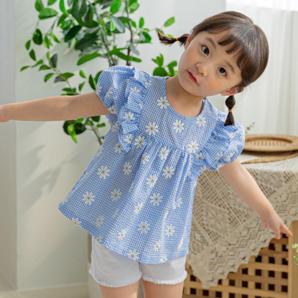 韓國 Orange Mom - 小雛菊格紋荷葉裝飾上衣-天藍