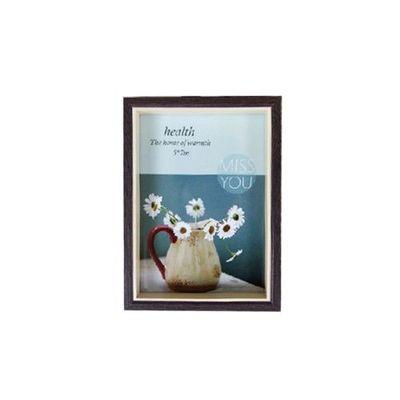 品味時代木紋雙色5x7相框-黑咖木