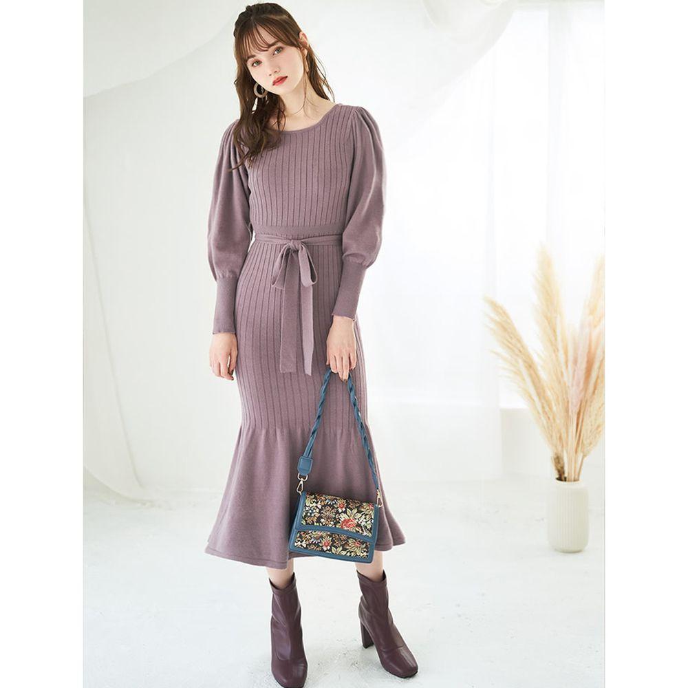 日本 GRL - 羅紋魚尾設計針織長袖洋裝-星塵紫