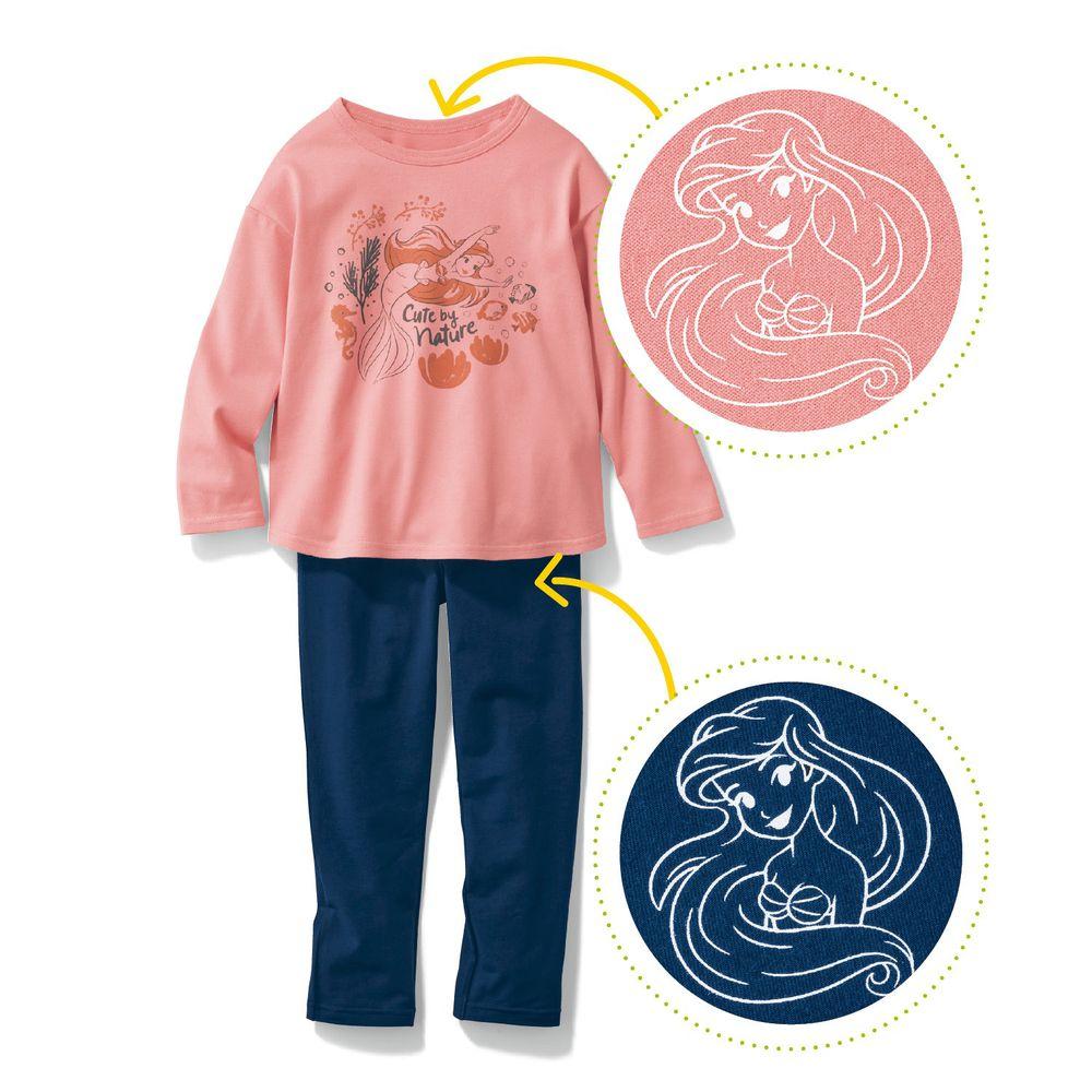 日本千趣會 - 迪士尼百搭長袖套裝-小美人魚-粉深藍