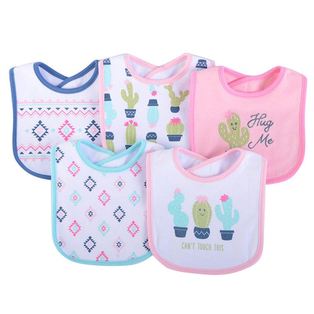 美國 Luvable Friends - 嬰幼兒口水巾(雙面棉質)圍兜5入組-仙人掌