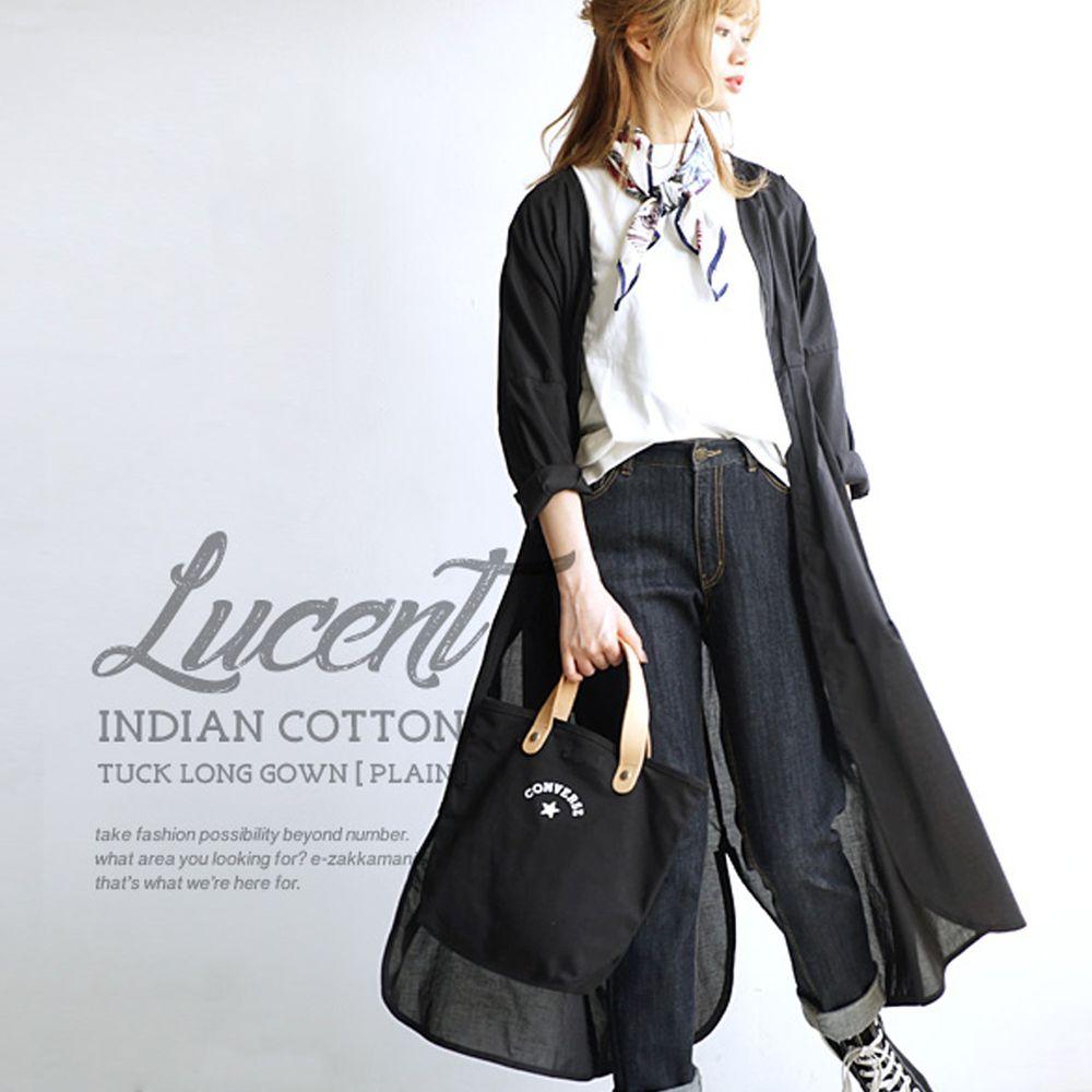 日本 zootie - 純印度棉長版綁帶罩衫/外套-帥氣黑 (F)