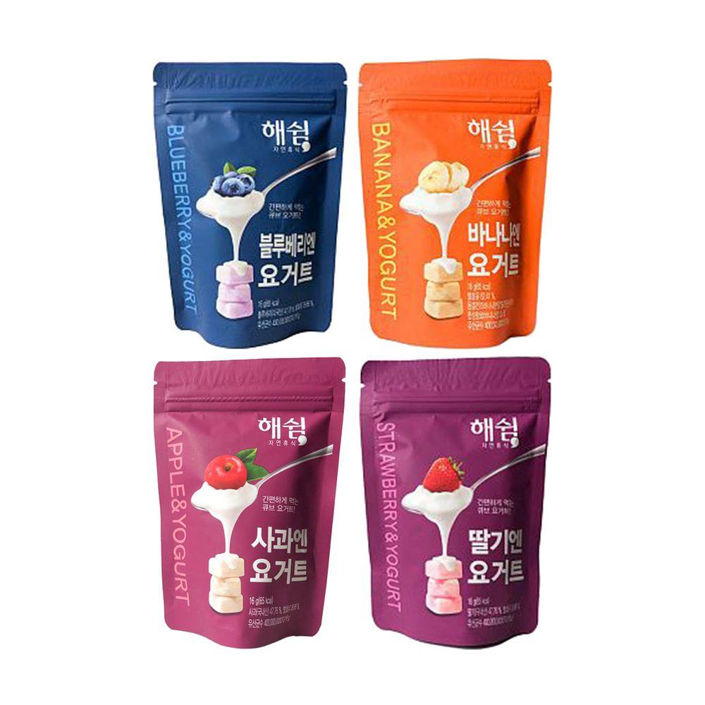 韓爸田園日記 - 優格寶寶餅乾-綜合4入(原味/藍莓/蘋果/草莓)-1包/16公克