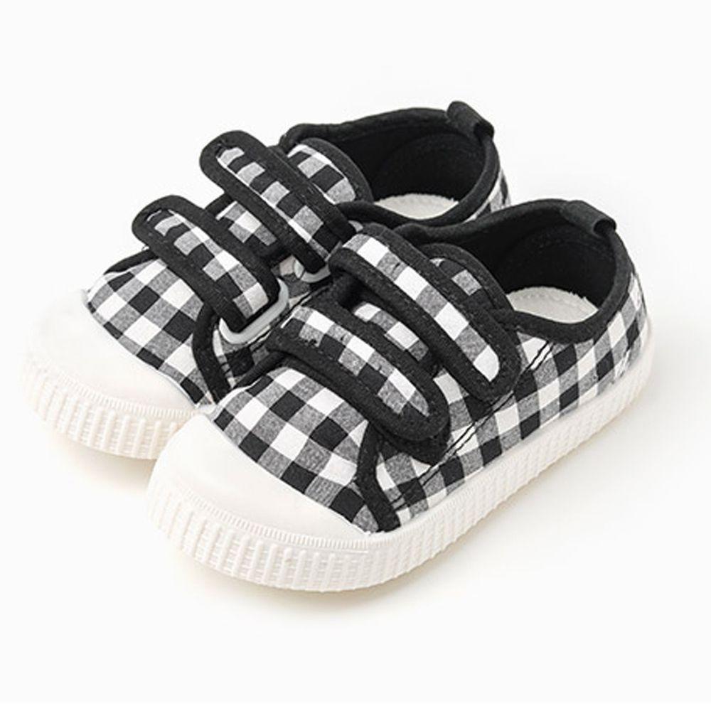 韓國 OZKIZ - 格子魔鬼氈兒童休閒鞋/室內鞋-黑
