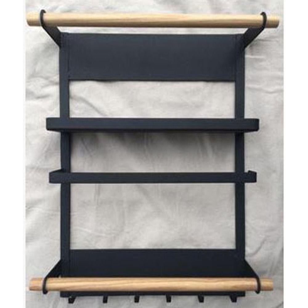 磁吸式冰箱側壁三層收納置物架-黑色