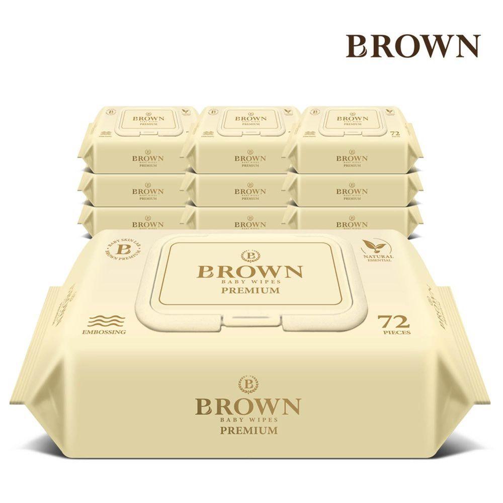 韓國BROWN - PREMIUM濕紙巾-蘆薈72抽(含蓋)*10包