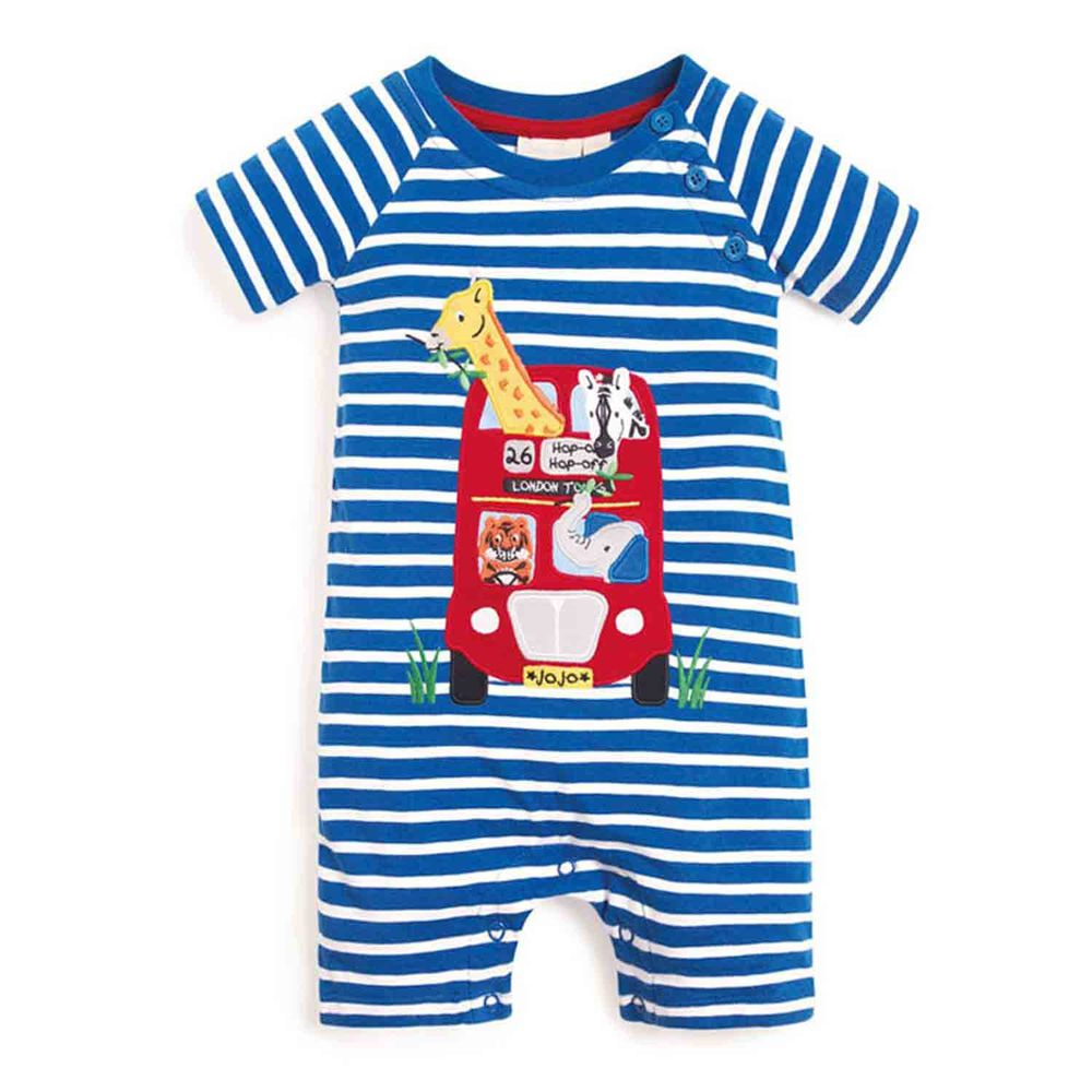 英國 JoJo Maman BeBe - 嬰幼兒100% 純棉短袖連身裝-旅行巴士