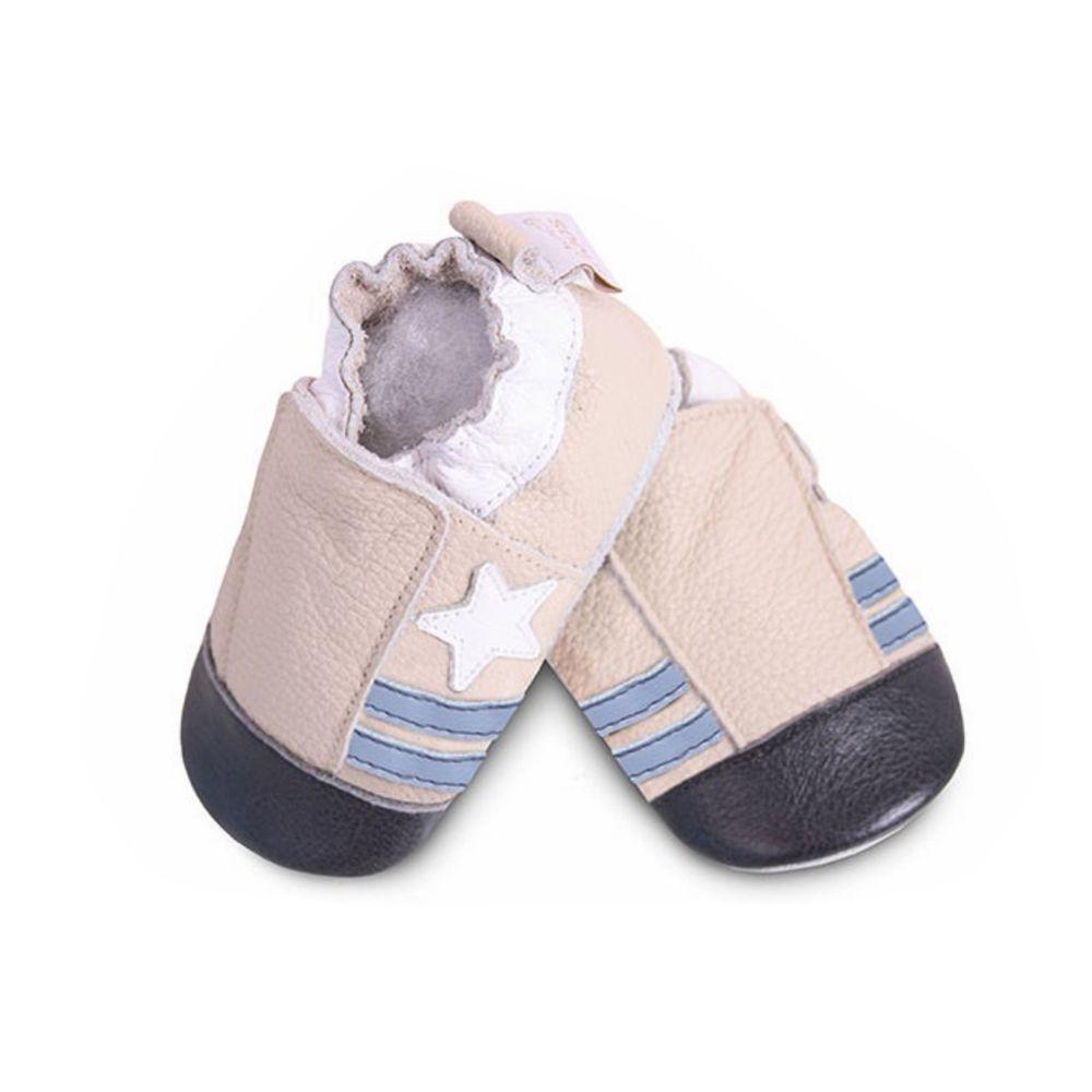英國 shooshoos - 健康無毒真皮手工鞋/學步鞋/嬰兒鞋/室內鞋/室內保暖鞋-米色小星星