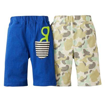 兒童夏日接觸涼感寬褲兩件組-藍色+綠迷彩