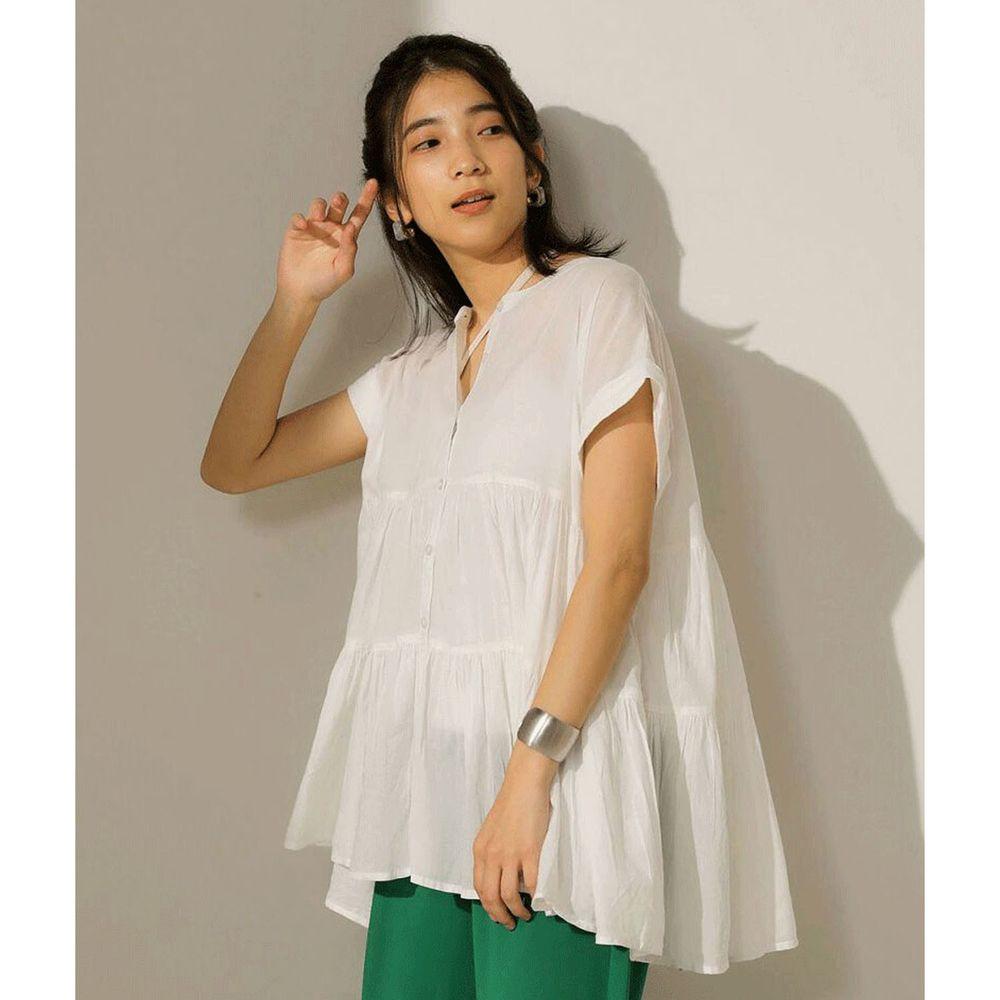 日本 Bou Jeloud - 浪漫蛋糕寬版短袖上衣-白