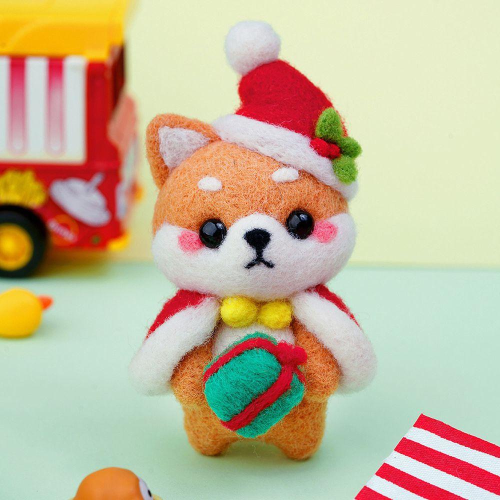 Diy療癒柴犬羊毛氈戳戳樂材料包-聖誕柴犬