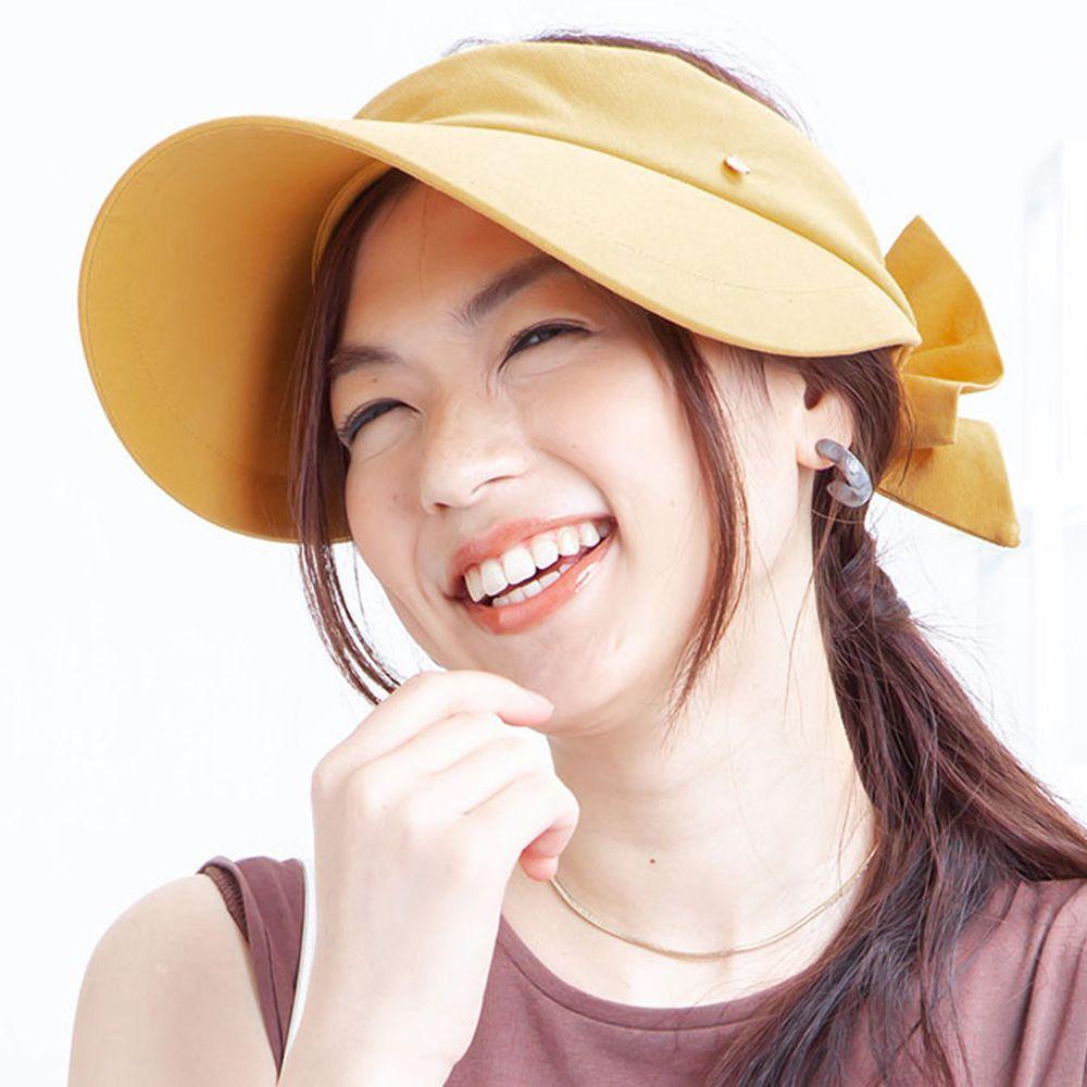 日本服飾代購 - 【irodori】抗UV蝴蝶結緞帶網球帽(可調尺寸)-芥末黃 (M(58cm))