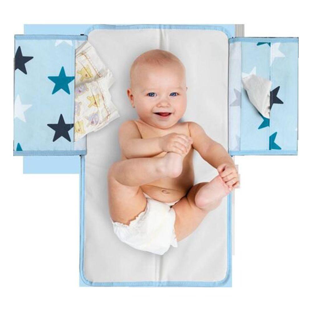 荷蘭 DOOKY - 三合一寶寶外出尿布墊-粉藍星星