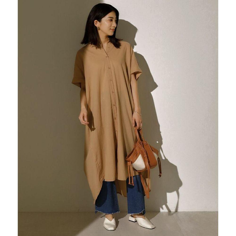 日本 Bou Jeloud - 後抓皺設計前短後長短袖襯衫洋裝-杏