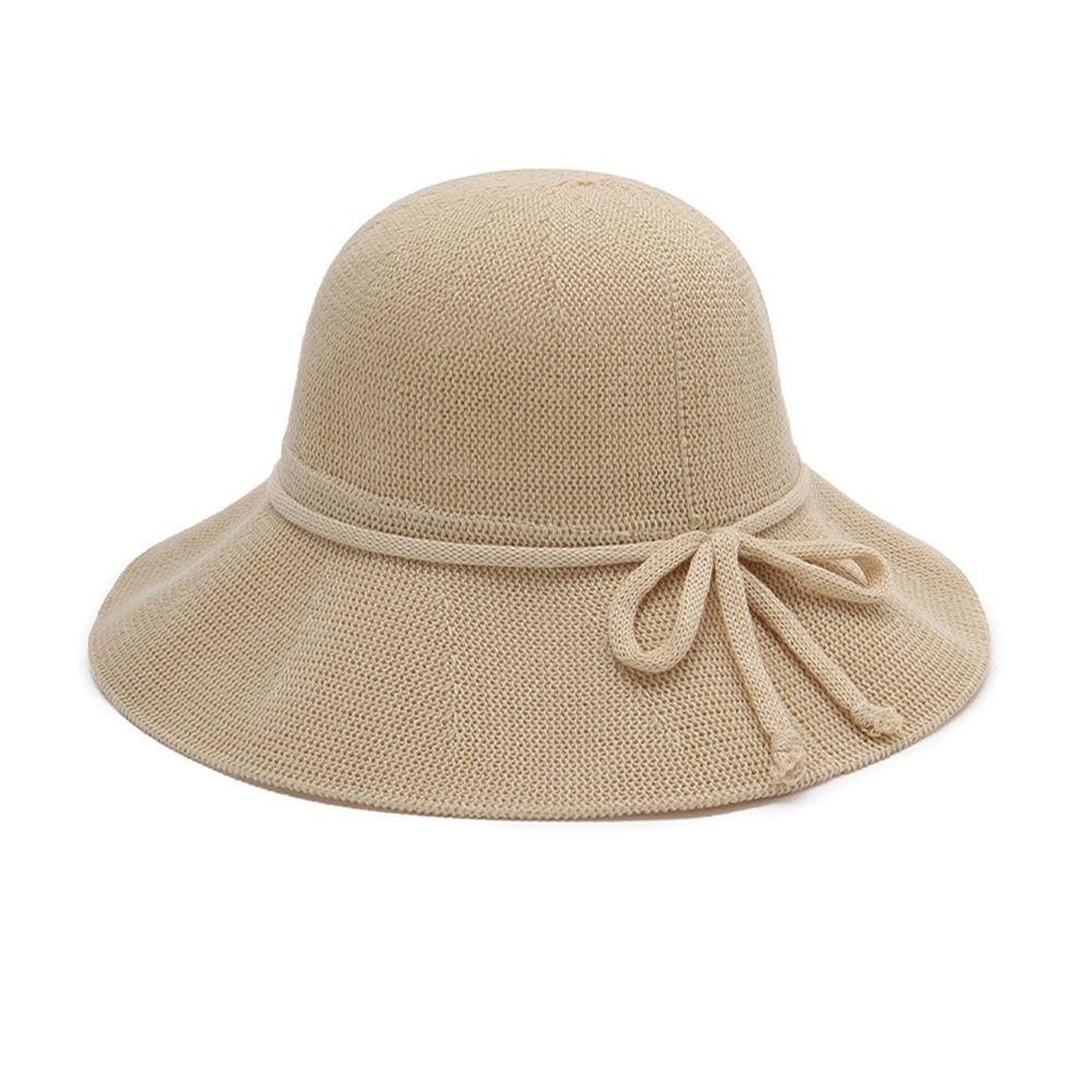 成人透氣可折疊遮陽棉纱草帽-綁繩蝴蝶結-米色 (56-58cm)