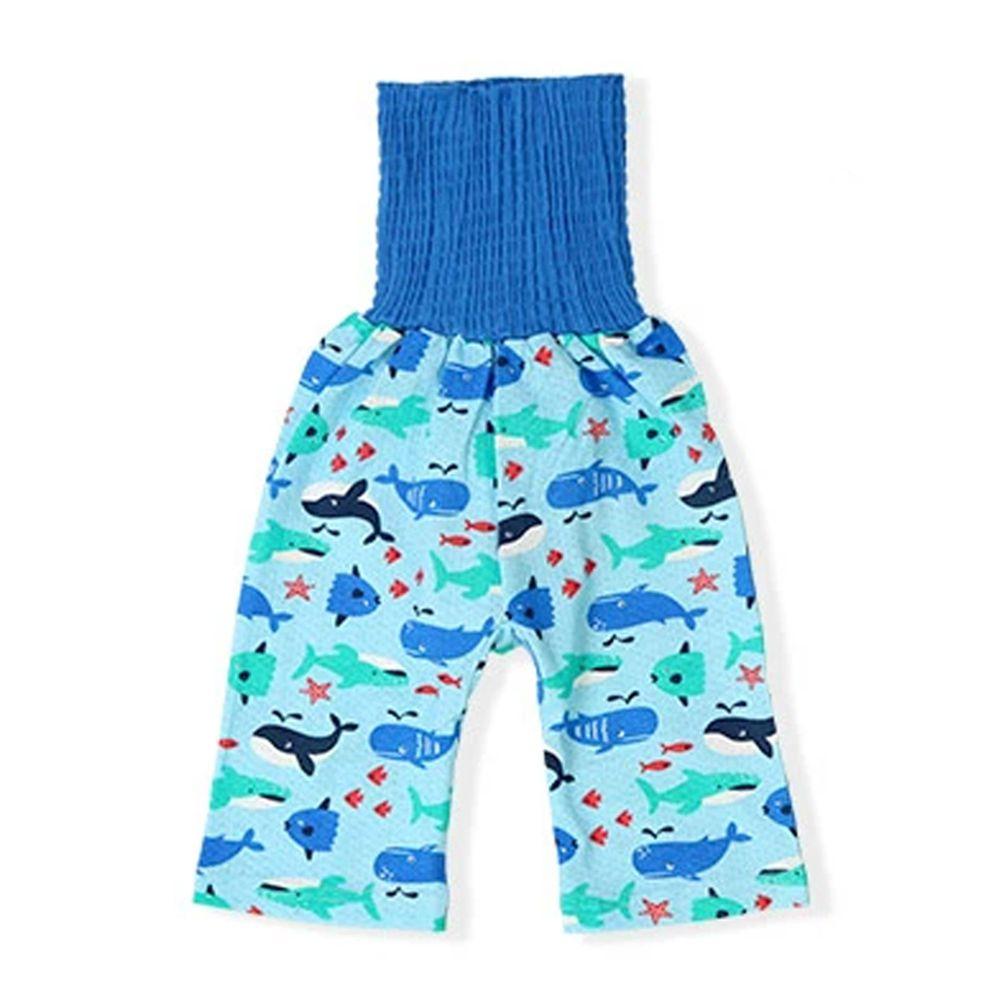 日本 ZOOLAND - 涼感 100%棉腹卷睡褲-海底生物-藍