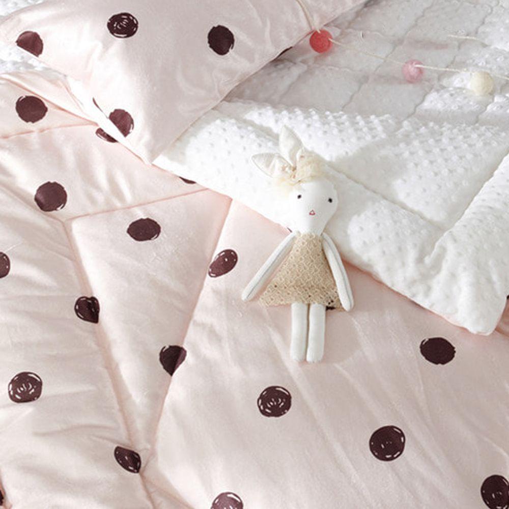 韓國 Formongde - 5cm厚輕量顆粒棉被-粉紅波點 (100X130cm)