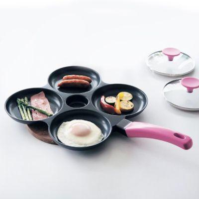鋁合金四格煎鍋(附鍋蓋*2)-粉紅-內徑13cm*4格