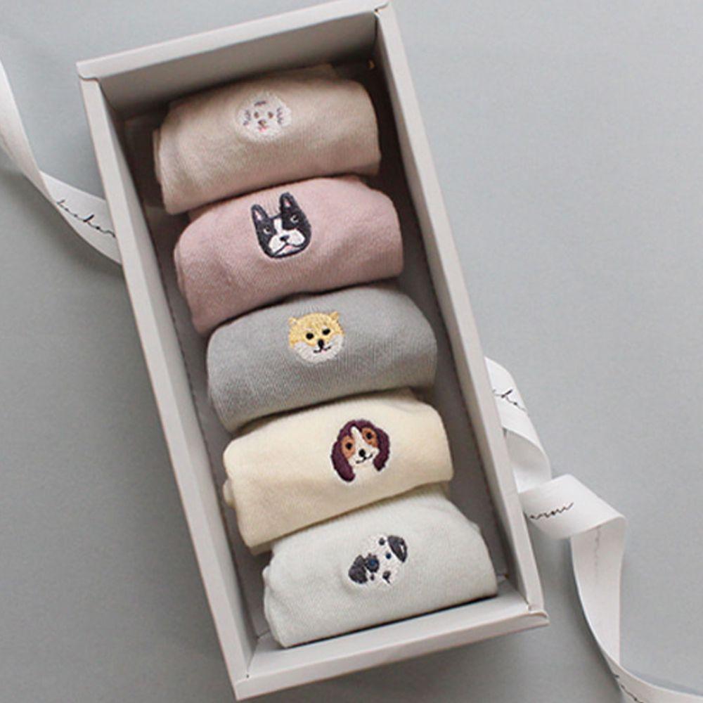 韓國 Kokacharm - 韓國製船型襪-五件組-Bow wow-袋裝