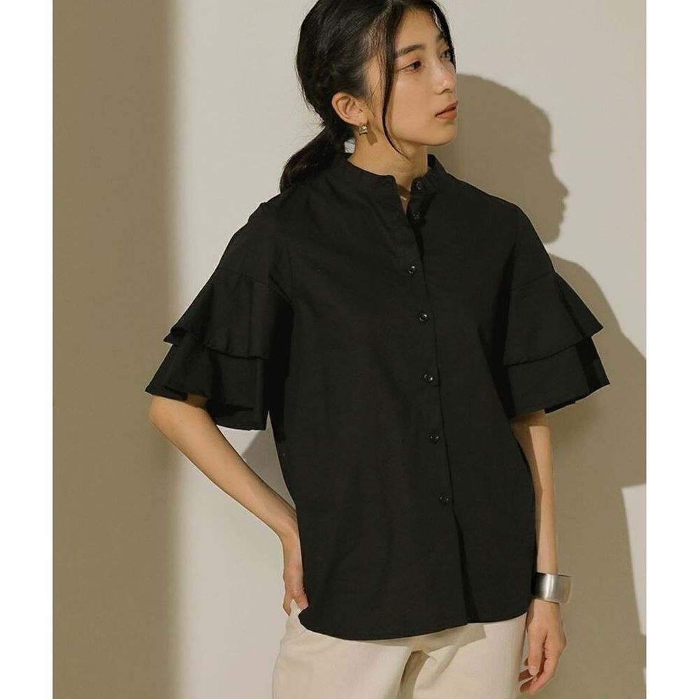 日本 Bou Jeloud - 雙層荷葉設計短袖襯衫-黑