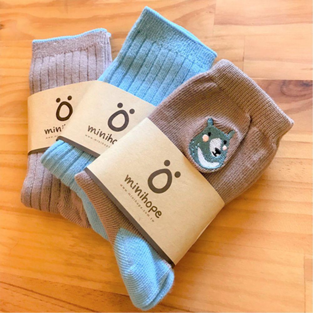 minihope美好的親子生活 - 保育動物精梳棉襪3件組-經典組合-黑熊1雙+羅紋(咖啡)1雙+羅紋(藍)1雙