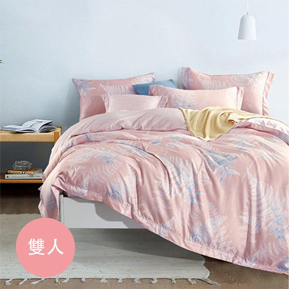 PureOne - 吸濕排汗天絲-飛揚-粉-雙人四件式床包鋪棉被套組