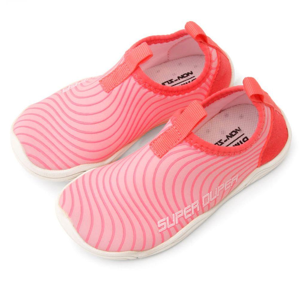 韓國 Bimbo Bimba - (設計款)加厚底防滑機能沙灘鞋/溯溪鞋-亮眼波紋-粉紅