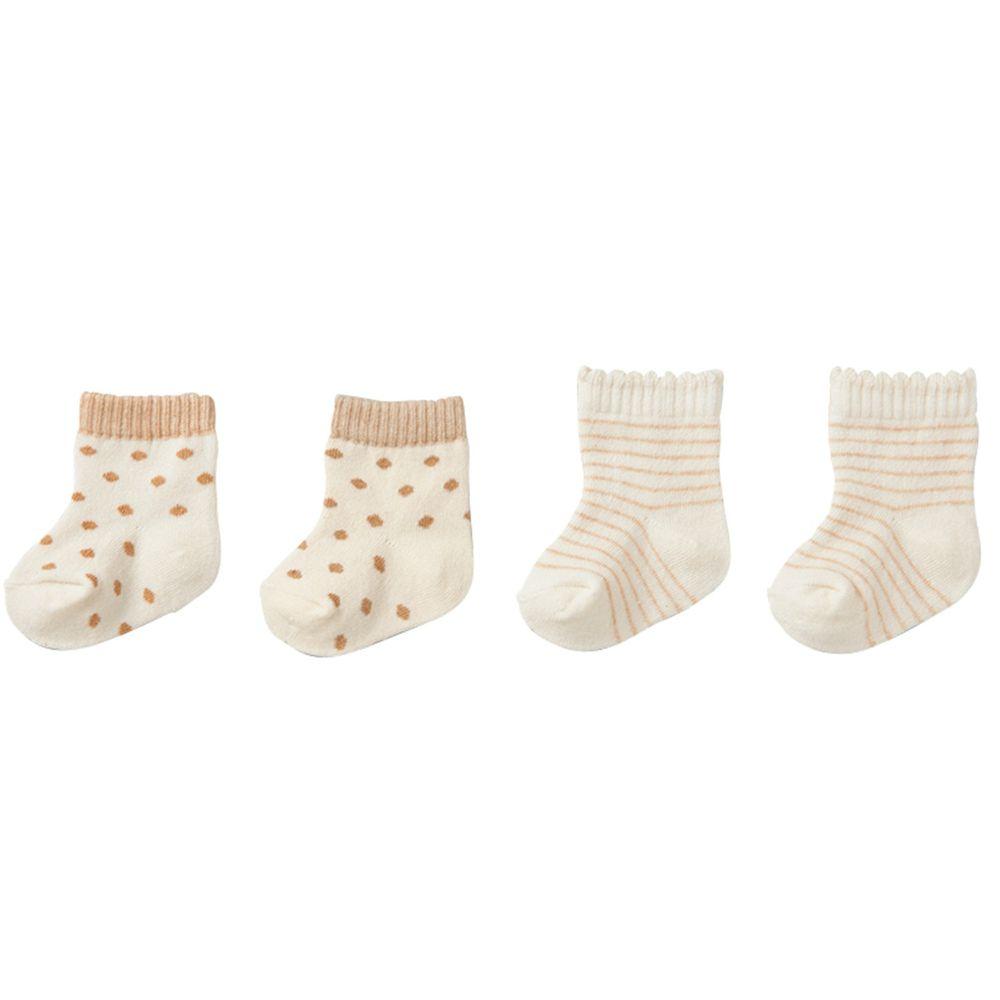 akachan honpo - 有機棉襪 2雙組-淺卡其色 (7~9cm)