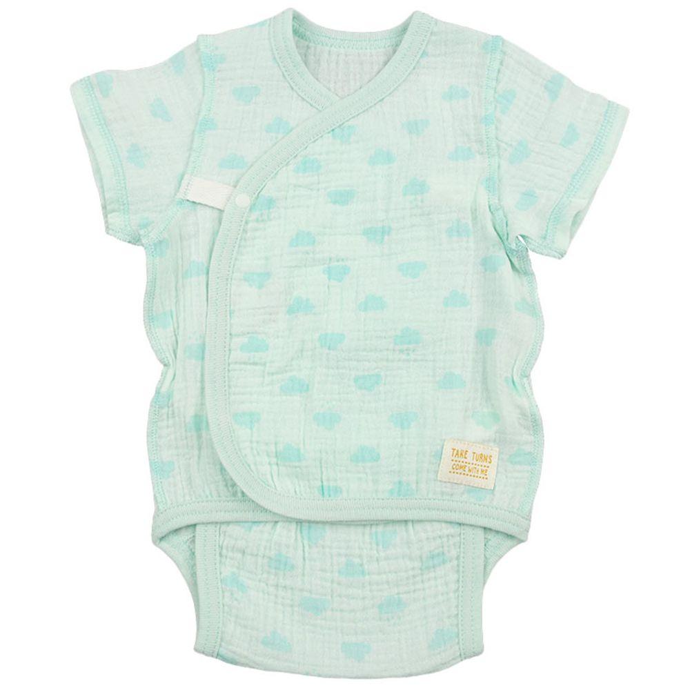 akachan honpo - 新生兒短袖包屁衣-穆斯林紗布-綠色 (50~60cm)