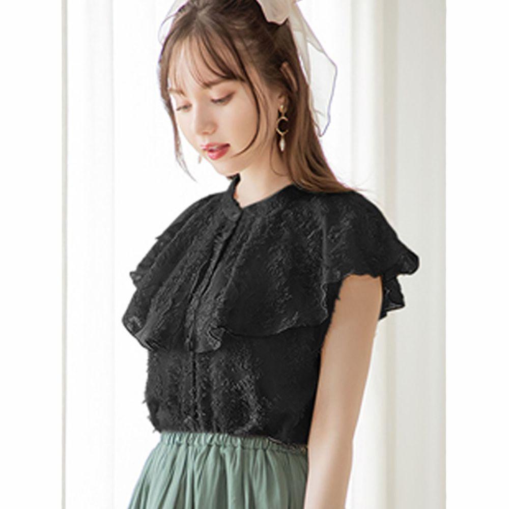日本 GRL - 蕾絲大荷葉層次無袖襯衫-時尚黑