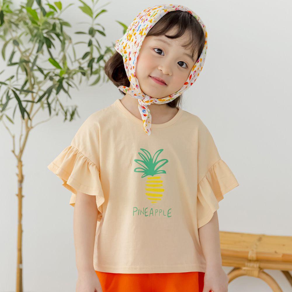 韓國 Orange Mom - 鳳梨大荷葉袖上衣-蜜桃橘