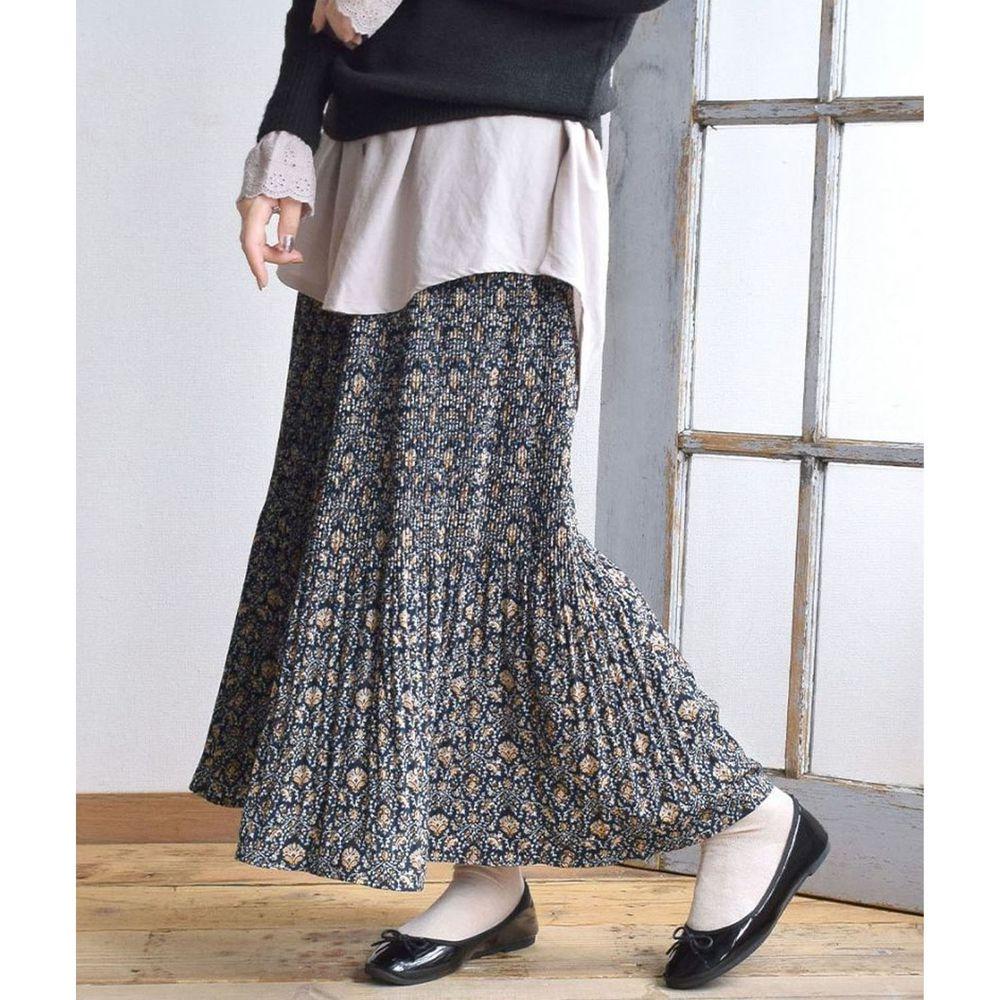 日本 zootie - 內裏保暖碎花細百褶長裙-深藍