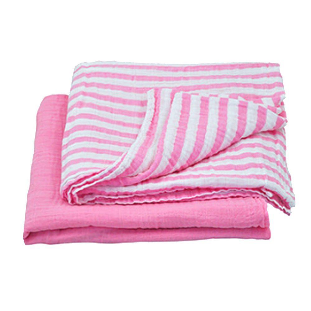 美國 green sprouts - 有機棉細紗包巾2入組-粉紅組 (單一尺寸)
