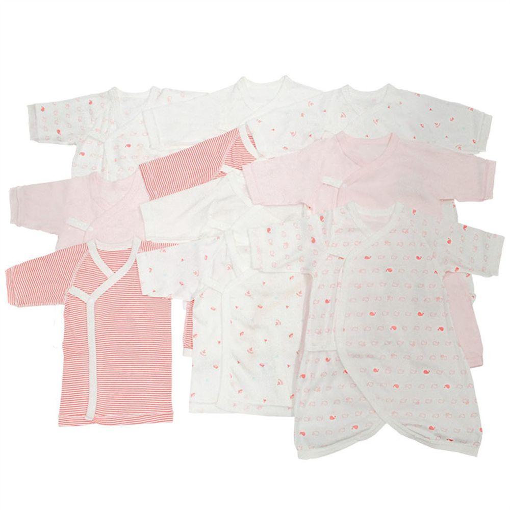 akachan honpo - 新生兒內衣10件組長袖 釦子款-紅色 (50~60cm)