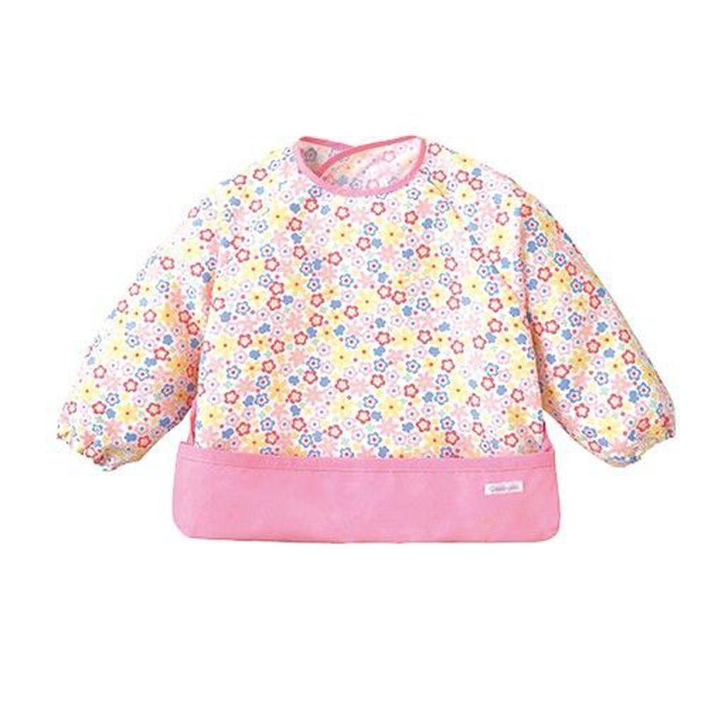 日本 Combi - mini 食事圍兜-長袖款-小花朵-甜心粉 (L [90-100cm])-12個月起