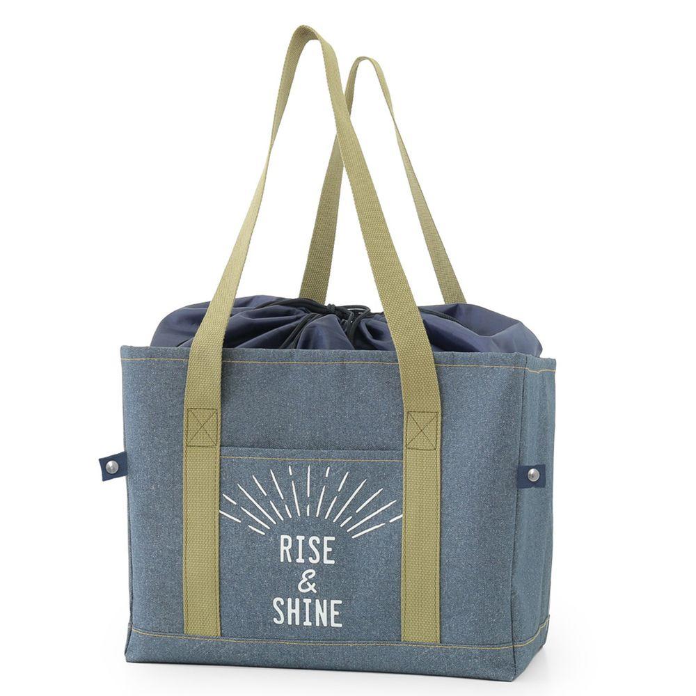 日本 TOMO - 立體方形 保溫保冷袋/購物袋(可套購物籃)-RISE&SHINE (40x26x28cm)