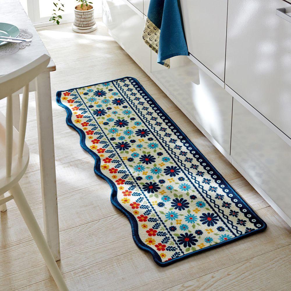 日本千趣會 - 撥水加工長條型腳踏墊(廚房/臥室)-花朵圖騰波浪邊