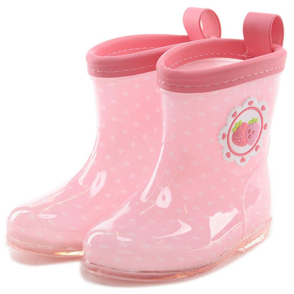 akachan honpo - 雨鞋-草莓-粉紅色