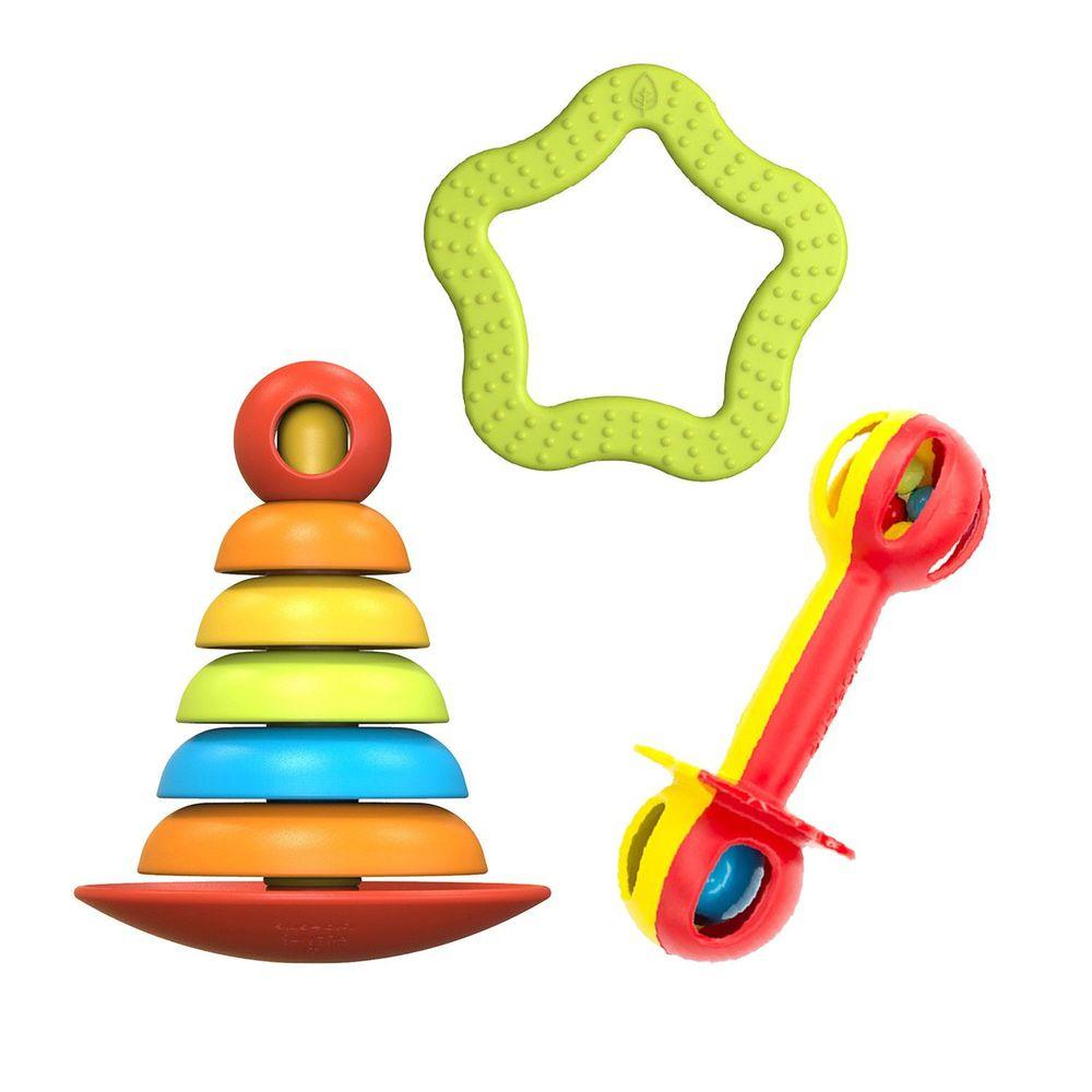 bioserie - 0-3歲成長玩具三件組(堆疊玩具)-2合1益智堆疊玩具x1+小小麥克風手搖鈴x1+海星點點固齒玩具綠色x1