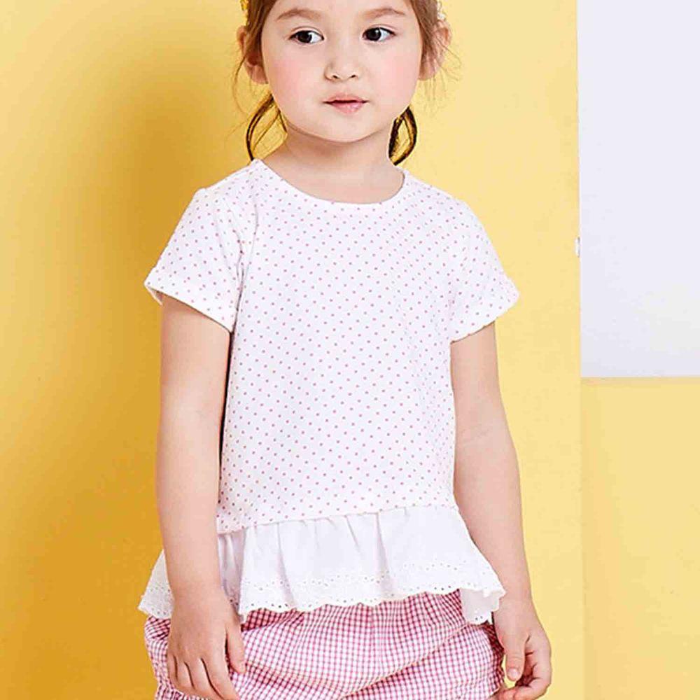 麗嬰房 Little moni - 俏皮女孩蕾絲拼接上衣-熱情粉